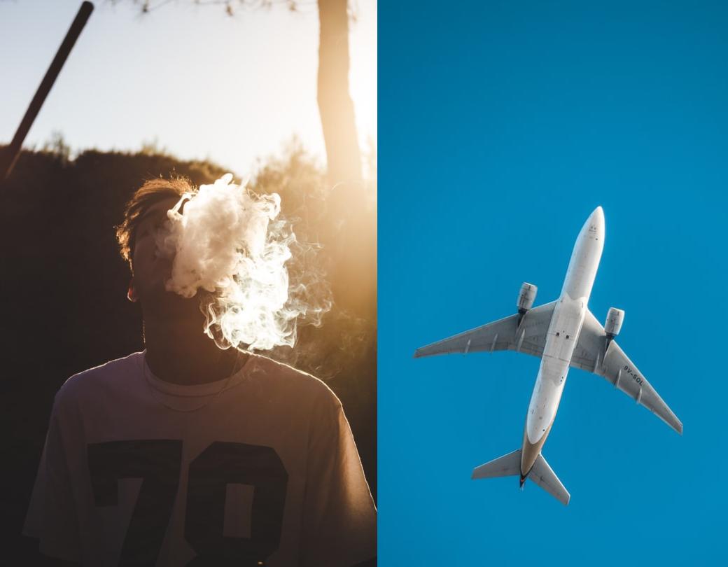 koláž kouření a letadlo